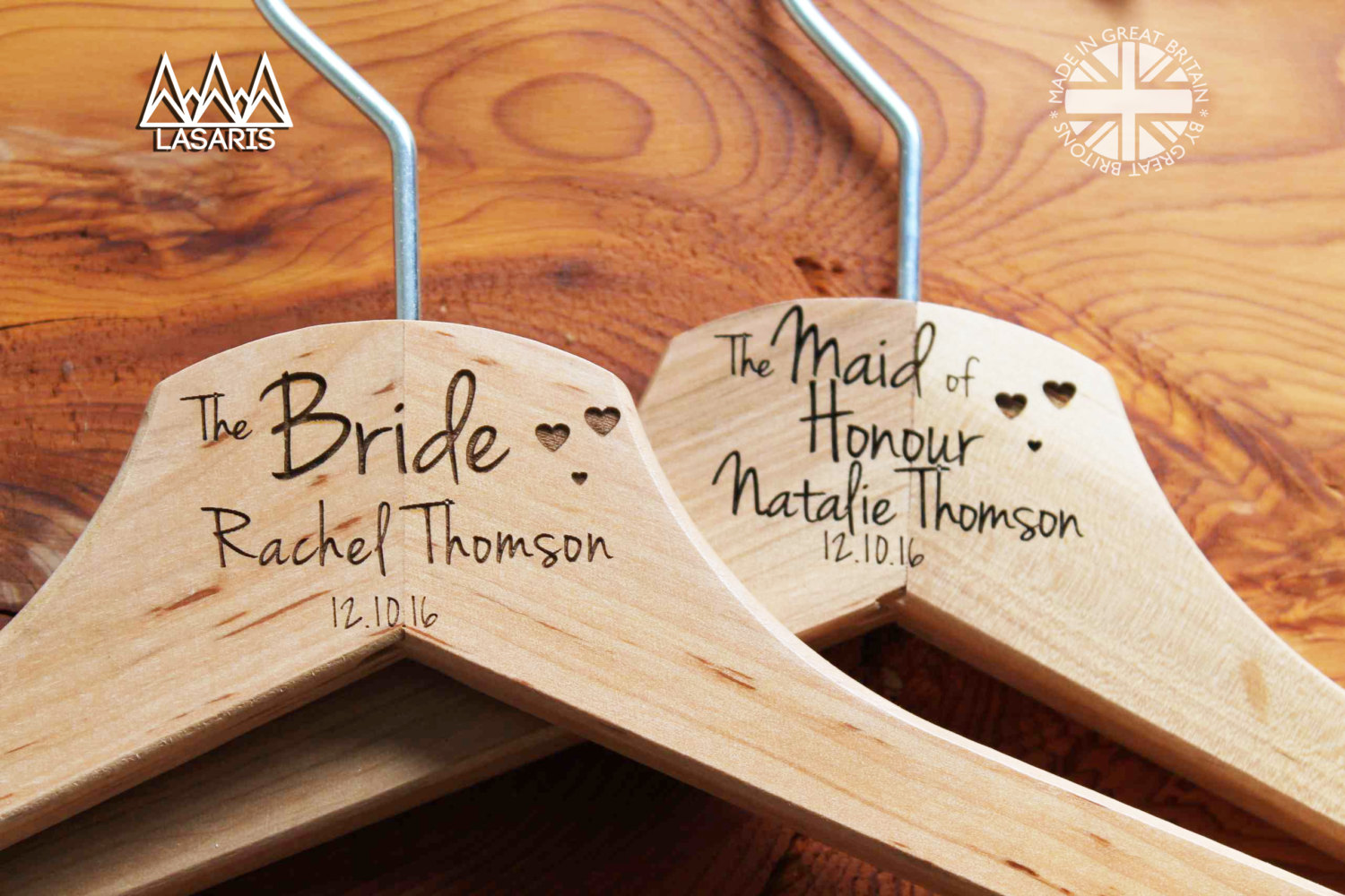 10 Personalized Bridesmaid Wedding Hanger in Wood or White - Hanger Engraved Wedding Gift Bride, Bridesmaids and more. Hearts..