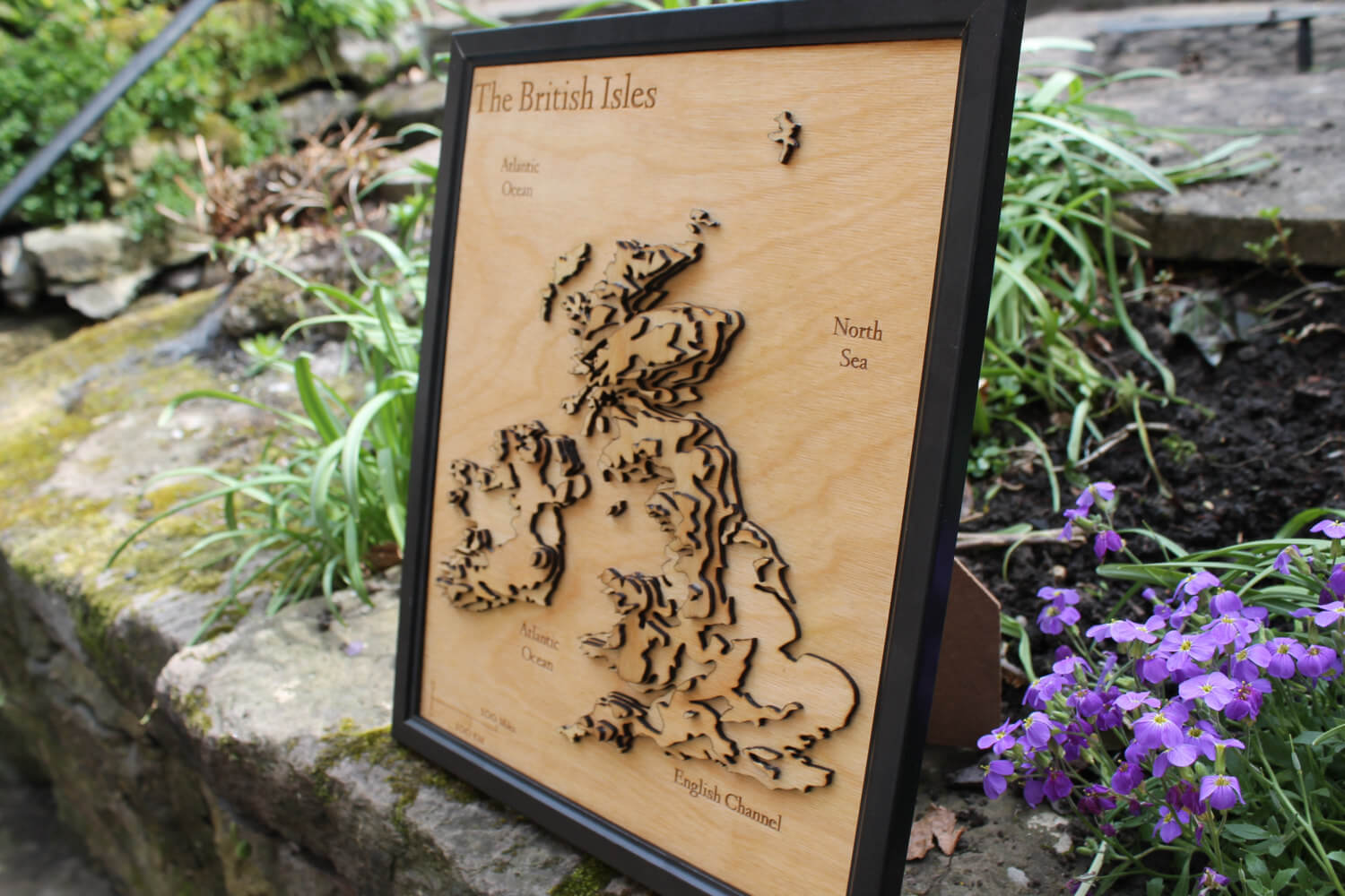 3D British Isles Map - Wooden Topographical Map - United Kingdom and Ireland Map - Wooden map