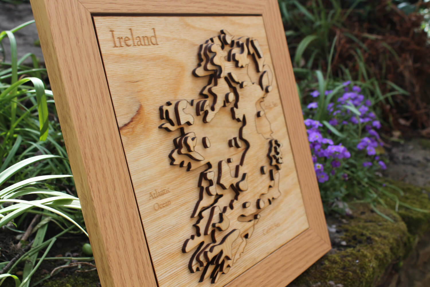 3D Ireland Map - Wooden Topographical Map - Ireland Map - Wooden map