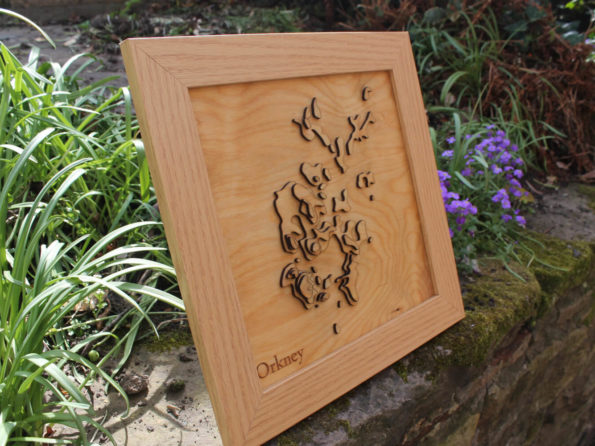 3D Orkney Islands Map - Wooden Topographical Map - Orkney Map - Wooden map