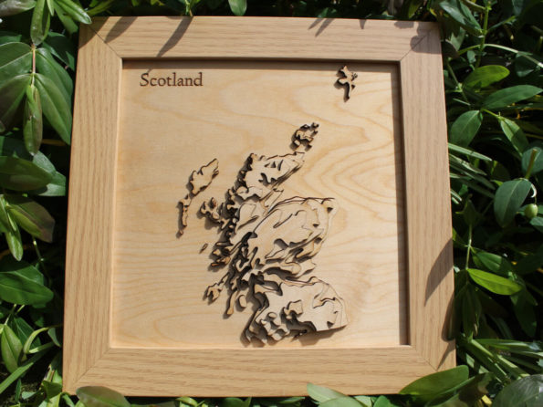 3D Scotland Map - Wooden Topographical Map - Scotland Map - Wooden Contour Map