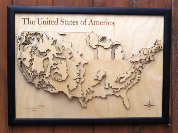 3D USA Map - Wooden Topographical Map - United States of America Map - Wooden map