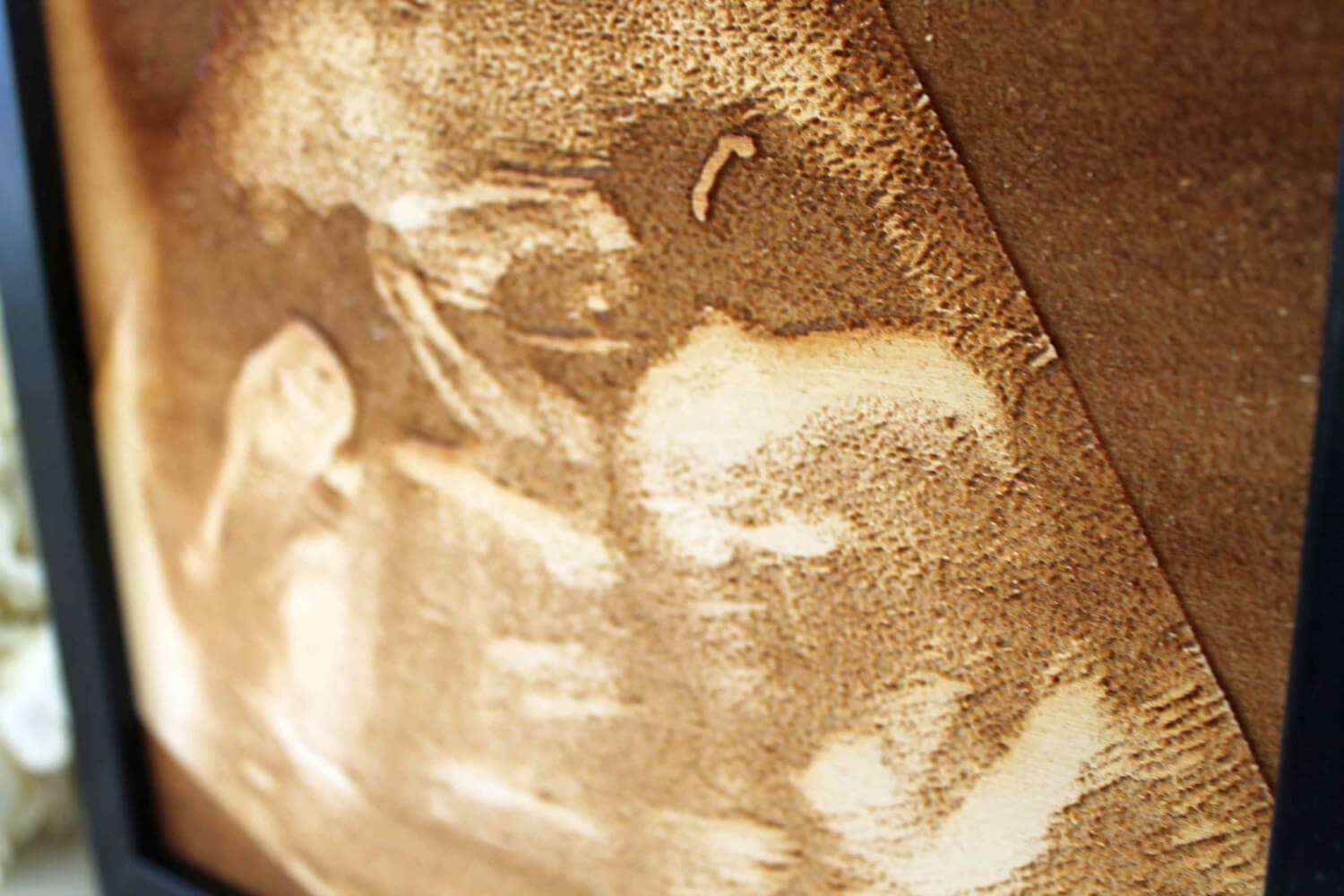 Baby Scan Engraving - Engraved into Wood - Framed Baby Scan