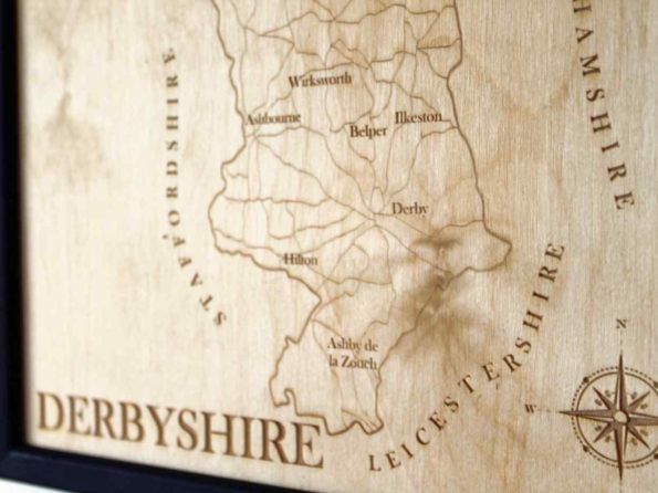 Derbyshire Map - Engraved Wooden Map