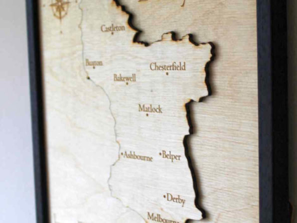 Derbyshire Map - Layered Map - Engraved Wooden Map