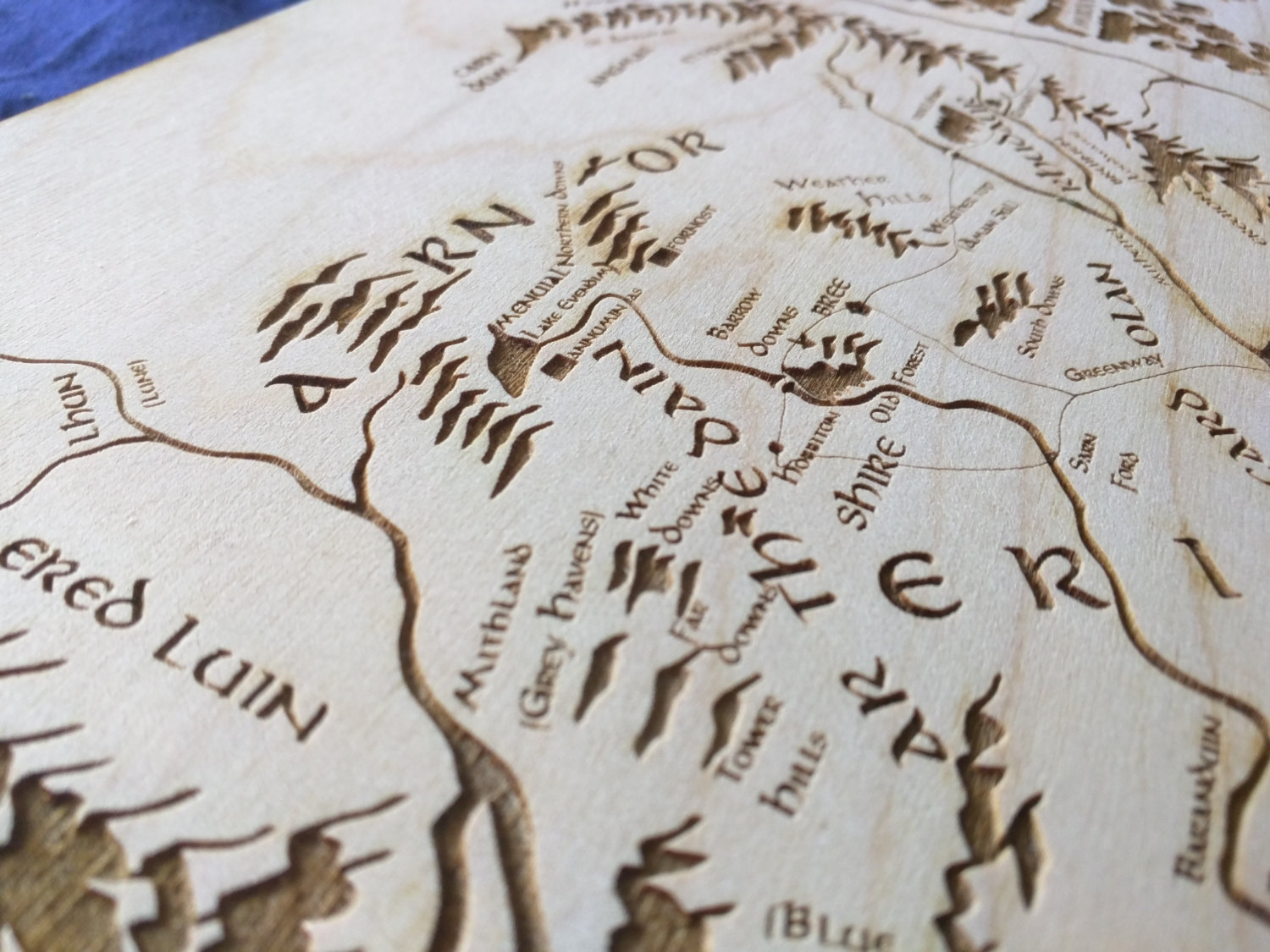Large Wooden Middle Earth Map - Engraved into Wood, Lord of the Rings map