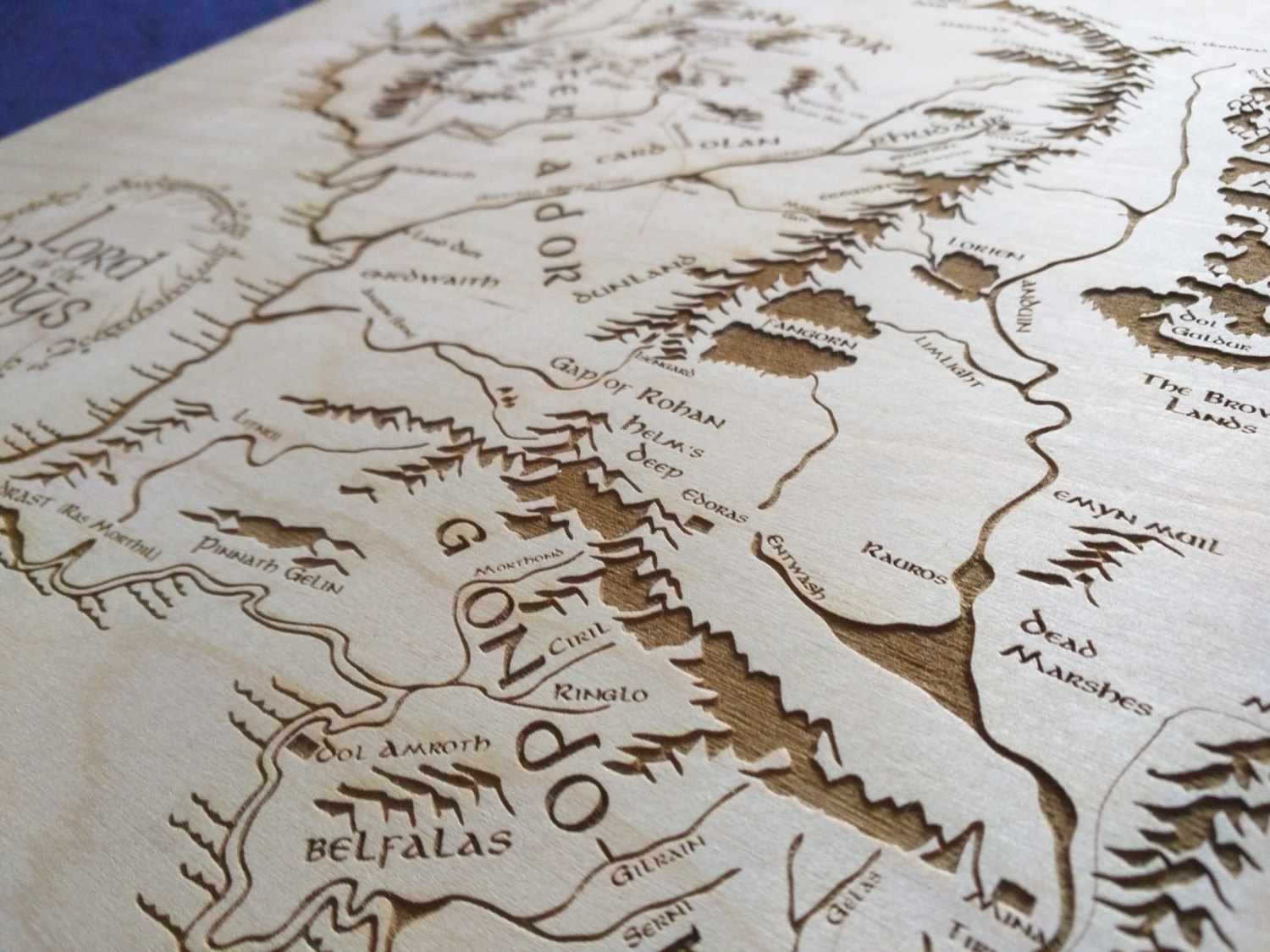 Middle Earth Map Large.Large Wooden Middle Earth Map Engraved Into Wood Lord Of The