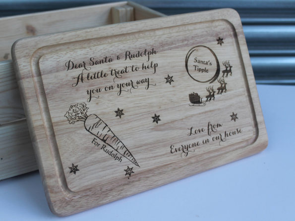 Santa and Rudolph - Personalised Wooden Chopping cheese board