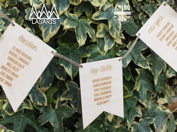 Wedding Table Plan Bunting - Rustic Wood