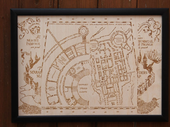 Wooden Marauders Map - Engraved into Wood, Harry Potter, Hogwarts map