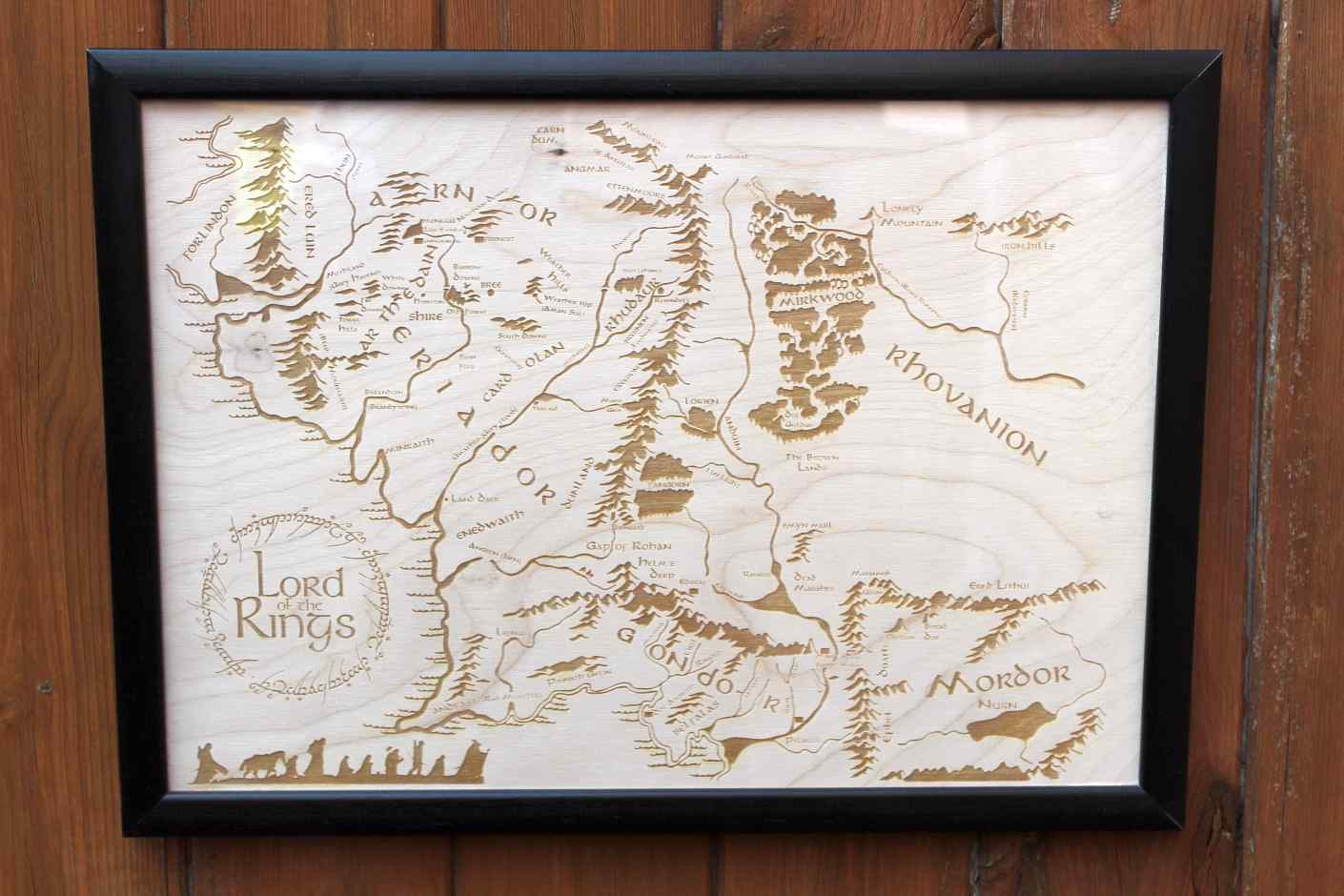 Wooden Middle Earth Map Engraved into Wood Lord of the Rings