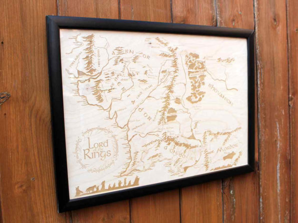 Wooden Middle Earth Map - Engraved into Wood, Lord of the Rings map