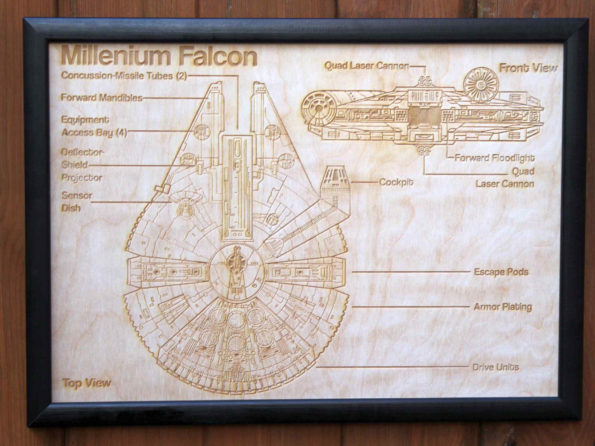 Wooden Millennium Falcon Map - Engraved into Wood