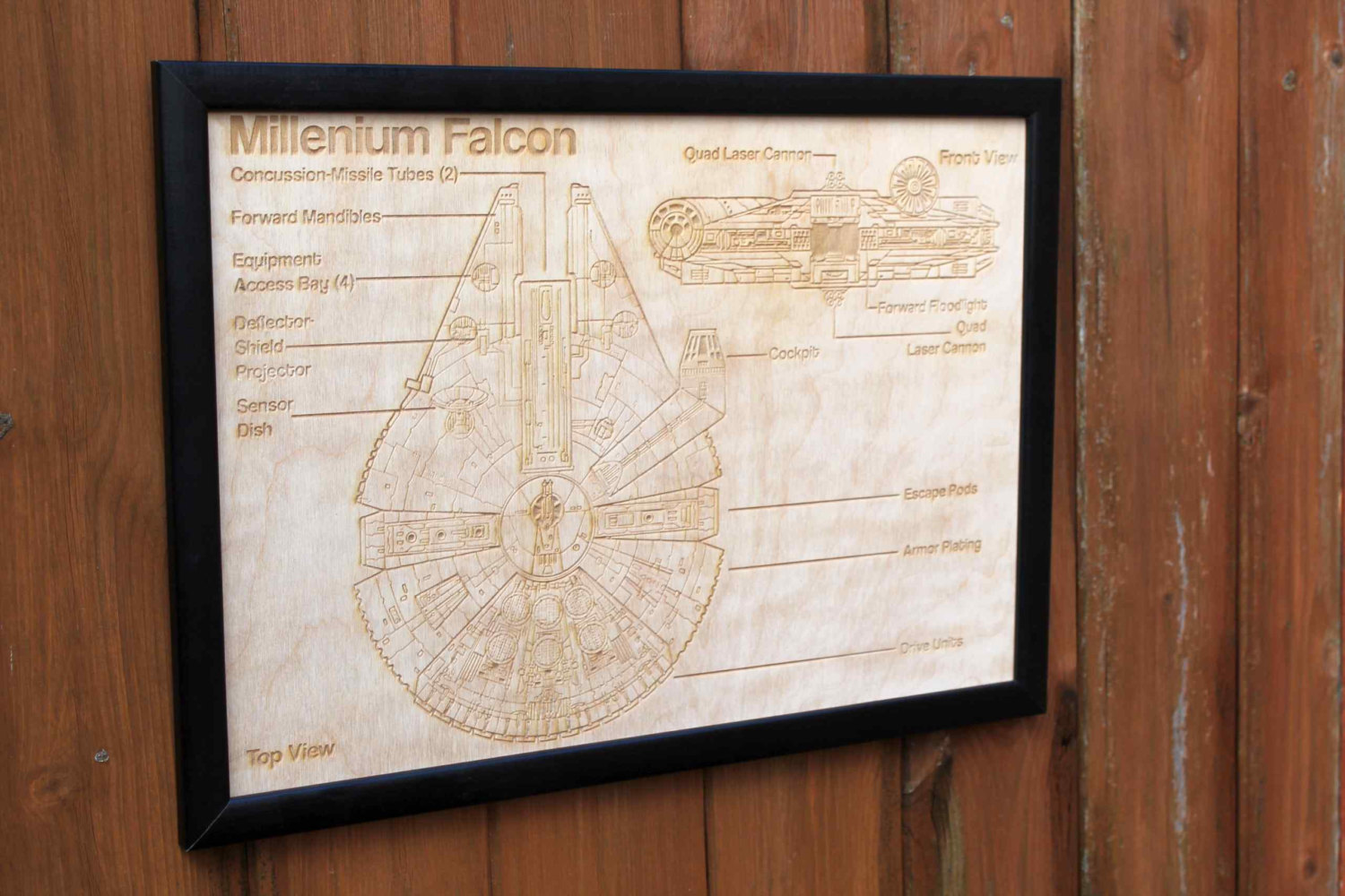 Wooden Millennium Falcon Map Engraved Into Wood