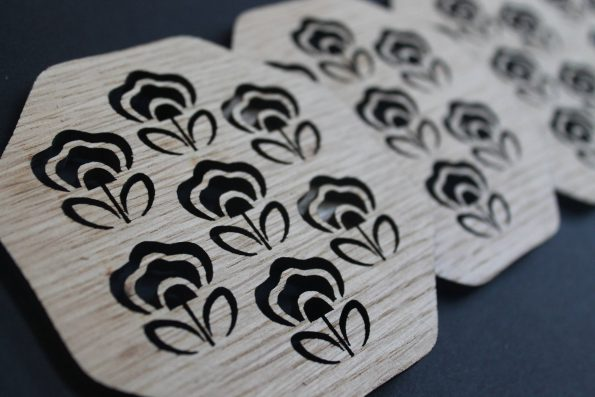 Laser Cut Coasters Set of 4 70s Flower Style