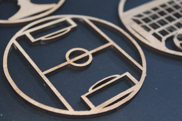 Laser Cut Coasters Set of 4 Football Style