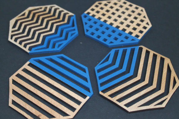 Blue Geometric Coasters Set of 4 Laser Cut Oak Wood Geometry