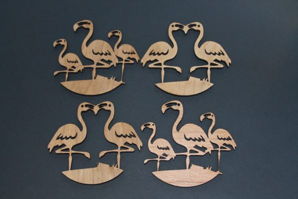 Flamingo Coasters Set of 4 Laser Cut Oak Wood