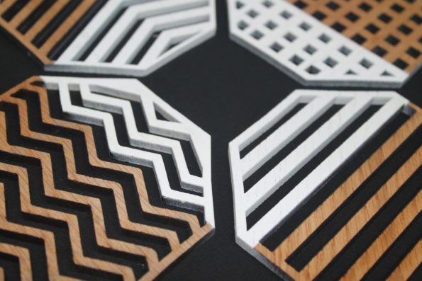 White Geometry Set of 4 Laser Cut Oak Wood