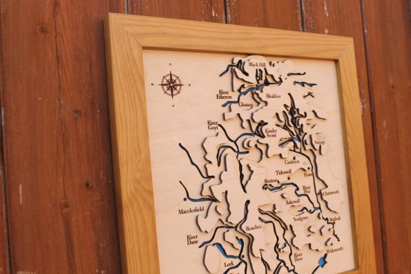 3D Peak District Map - Wooden Topographical Map