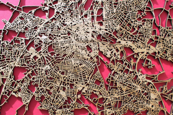 Derby Wood Map Laser Cut Street Maps Wooden Map
