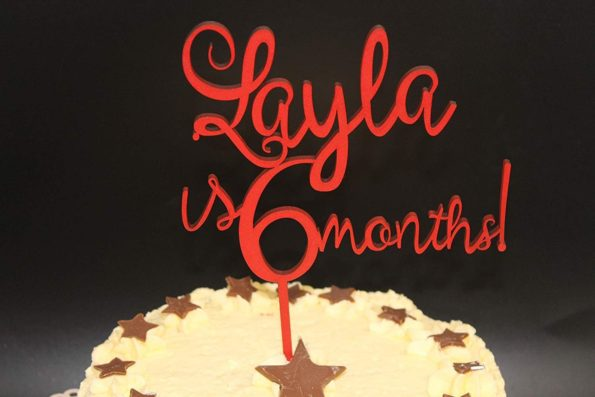 6 Months Old Cake Topper Wood Six Months Old Style Custom Personalised Solid Wood Luxury Premium Topper Keepsake