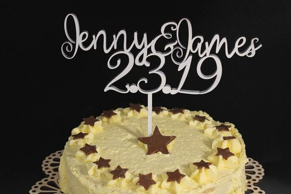 Anniversary Wedding Cake Topper Wood Names and Date Custom Personalised Solid Wood Luxury Premium Topper Keepsake
