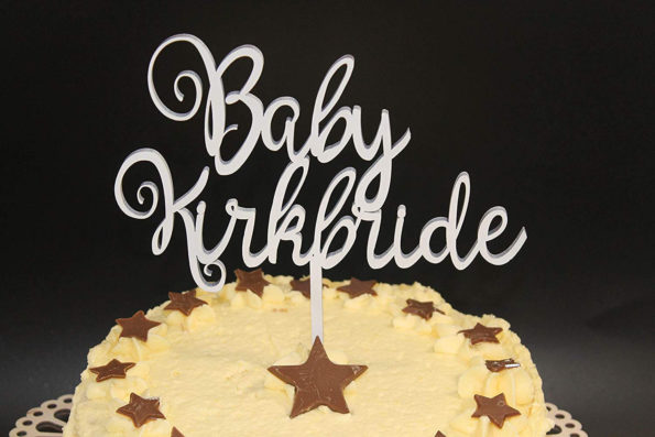 Baby Shower Cake Topper Wood Custom Personalised New Born Baby Solid Wood Luxury Premium Topper Keepsake