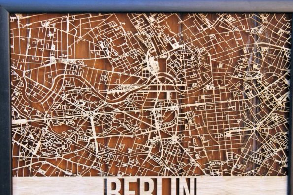 Berlin Wood Map Laser Cut Street Maps Wooden Map