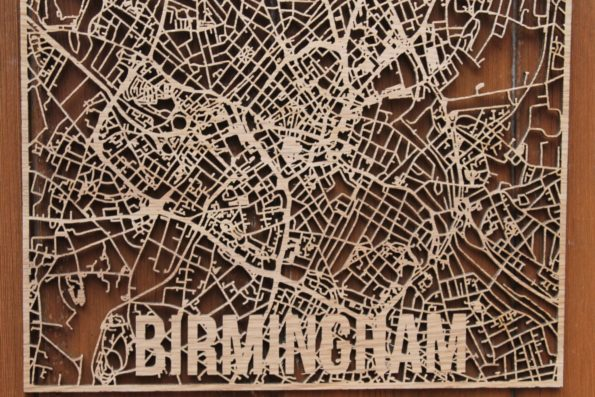Birmingham Wood Map Laser Cut Street Maps Wooden Map