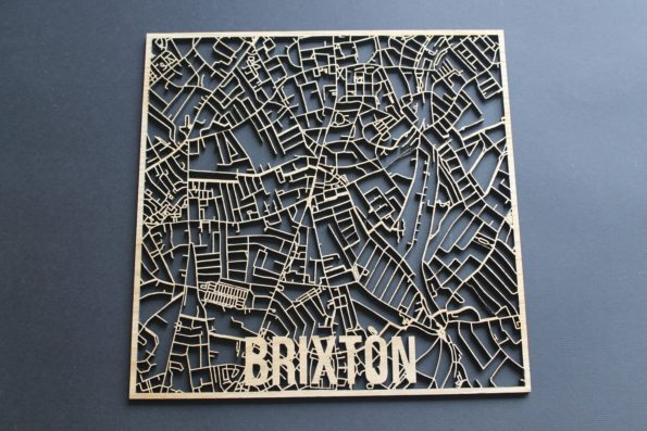 Brixton Solid Wood Laser Cut Street Maps Wooden Map