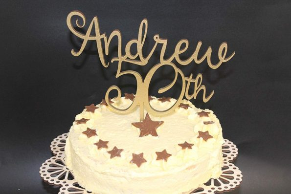 Cake Topper Wood Name with Age Custom Personalised Name and is Age Solid Wood Luxury Premium Topper Keepsake