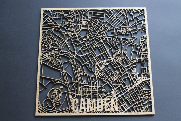 Camden Solid Wood Laser Cut Street Maps Wooden Map