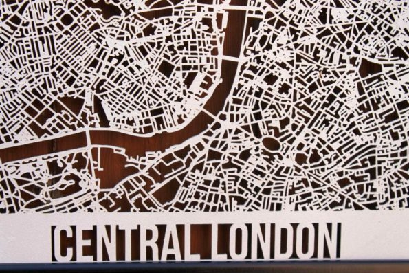 Central London Wood Map Laser Cut Street Maps Wooden Map