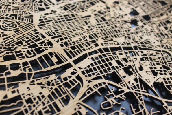 Glasgow Scotland Wood Map Laser Cut Street Maps Wooden Map