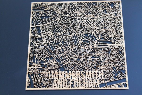Hammersmith and Fulham Wood Map Laser Cut Street Maps Wooden Map