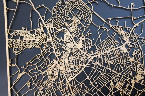 Harrogate Laser Cut Street Maps Wooden Map