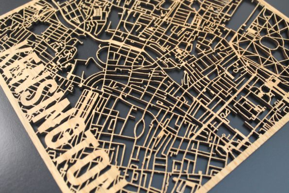 Kensington Solid Wood Laser Cut Street Maps Wooden Map