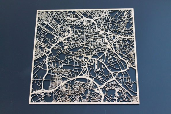 Leeds Laser Cut Street Maps Wooden Map
