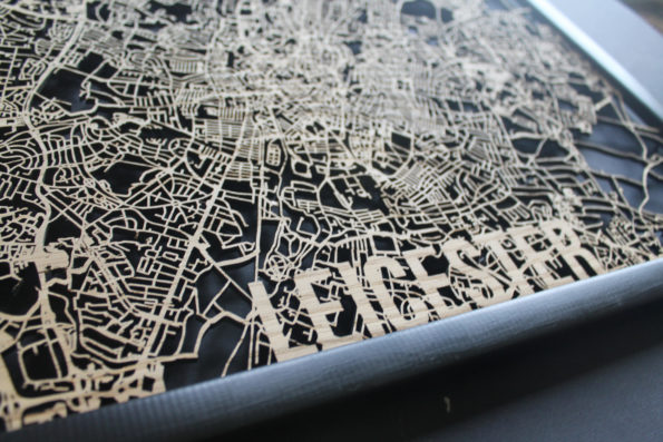 Leicester Wood Map Laser Cut Street Maps Wooden Map