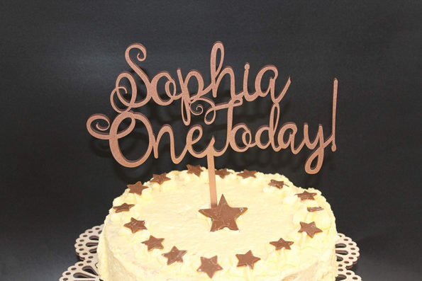 One Today Cake Topper Wood Custom Personalised Name and is Age Solid Wood Luxury Premium Topper Keepsake