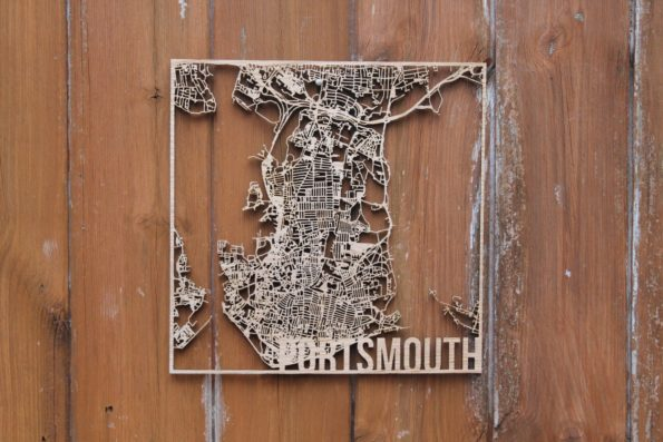 Portsmouth Solid Wood Laser Cut Street Maps Wooden Map