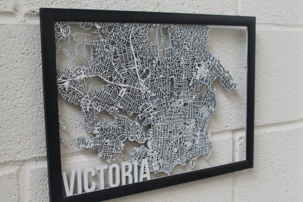 Victoria Canada Wood Map Laser Cut Street Maps Wooden Map