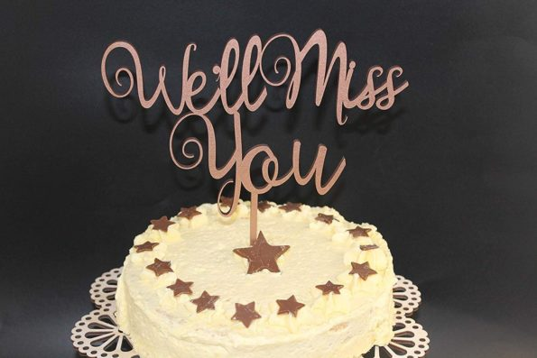 We'll Miss You Cake Topper Wood Custom Personalised Name and is Age Solid Wood Luxury Premium Topper Keepsake Retirement Leaving Gift