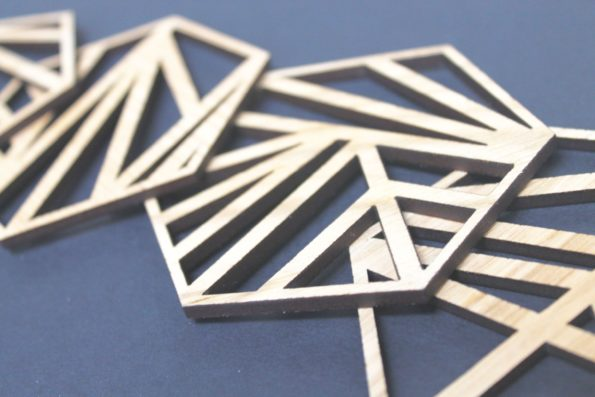 Abstract Geometric Laser Cut Coasters Set of 4