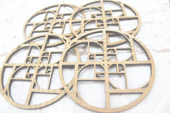 Fibonacci Sacred Geometry Laser Cut Coasters Set of 4