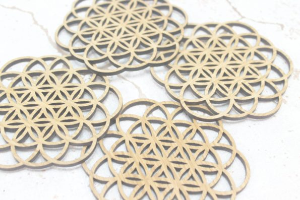 Flower of Life Foundations Sacred Geometry Laser Cut Coasters Set of 4