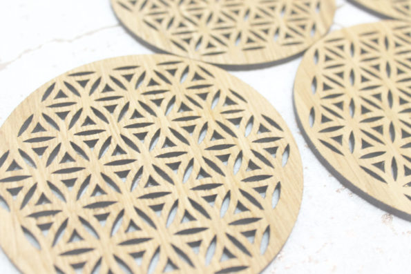 Flower of Life Sacred Geometry Laser Cut Coasters Set of 4
