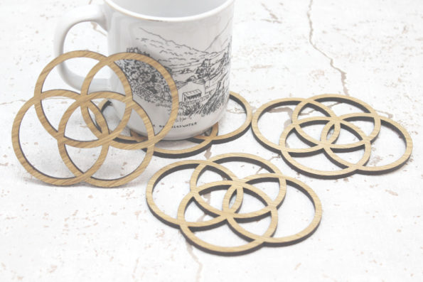 Sacred Geometry Four Elements of Life Eath, Water, Fire, Air Laser Cut Coasters Set of 4
