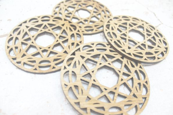 Sacred Geometry Heavenly City Lunar Cycle Zodiac Laser Cut Coasters Set of 4